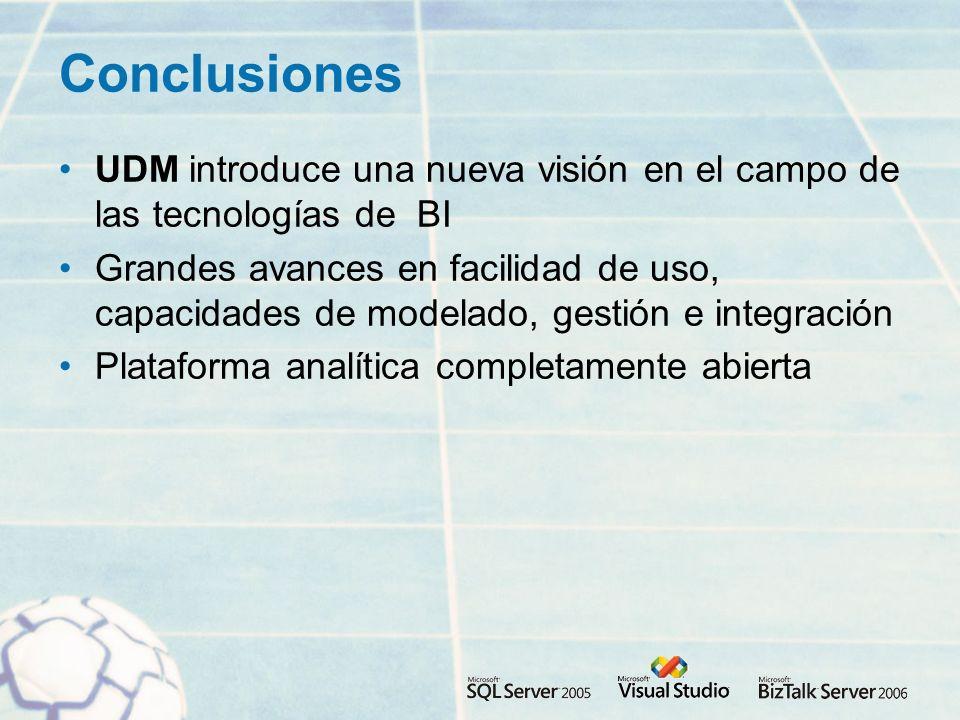 Conclusiones UDM introduce una nueva visión en el campo de las tecnologías de BI.
