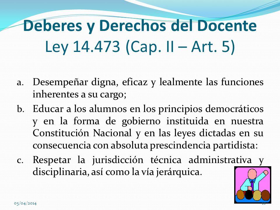 Deberes y Derechos del Docente Ley 14.473 (Cap. II – Art. 5)