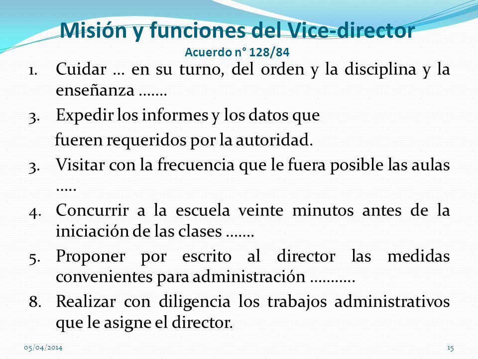 Misión y funciones del Vice-director Acuerdo n° 128/84