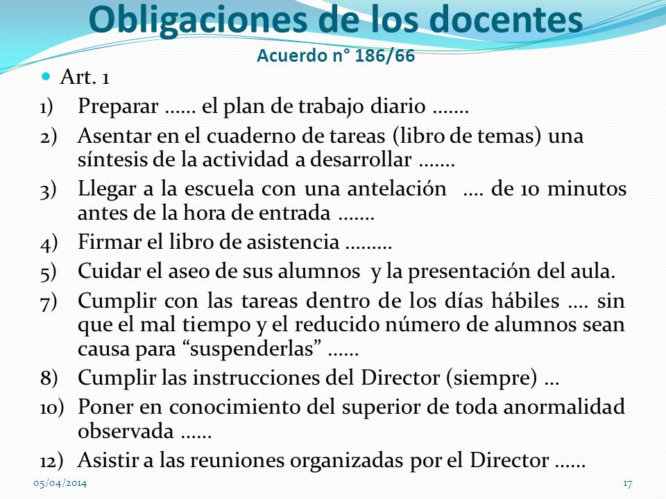 Obligaciones de los docentes Acuerdo n° 186/66