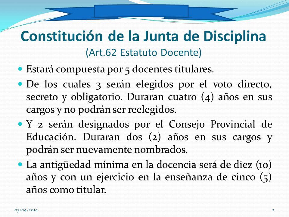 Constitución de la Junta de Disciplina (Art.62 Estatuto Docente)
