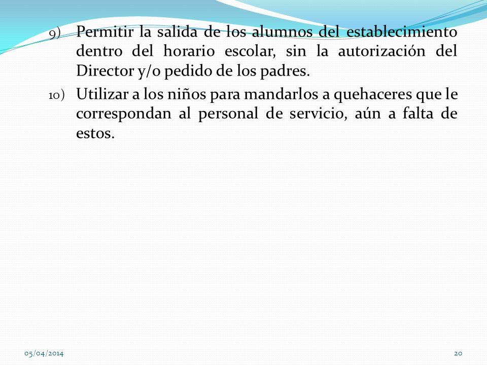 Permitir la salida de los alumnos del establecimiento dentro del horario escolar, sin la autorización del Director y/o pedido de los padres.