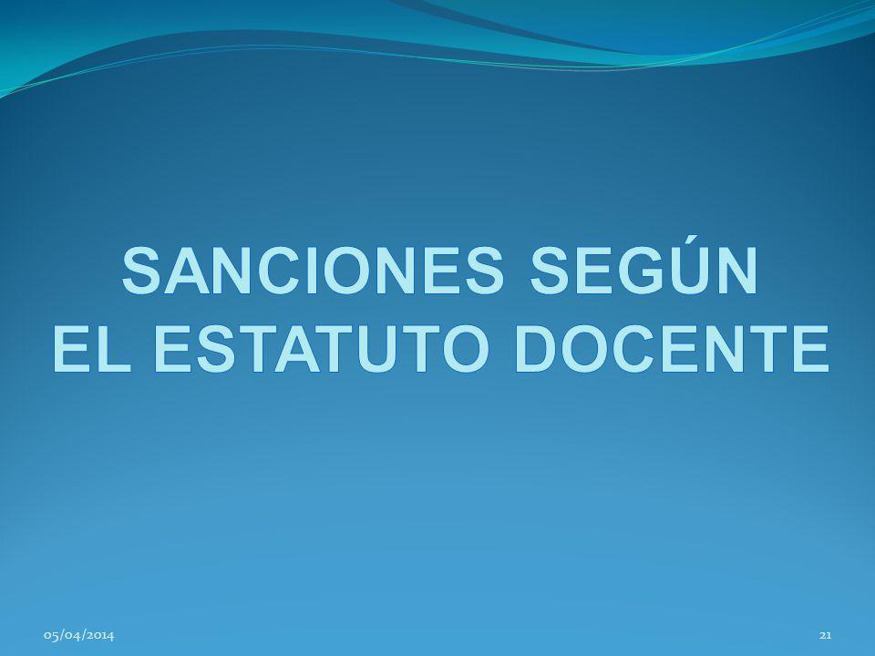 SANCIONES SEGÚN EL ESTATUTO DOCENTE