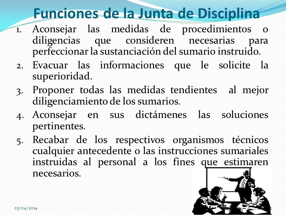 Funciones de la Junta de Disciplina