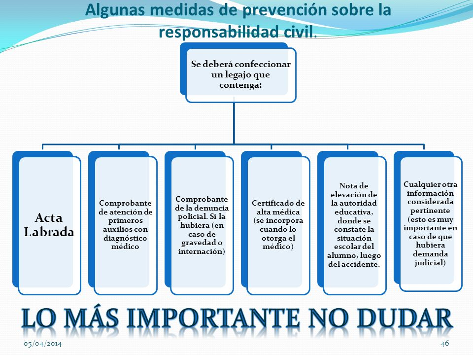Algunas medidas de prevención sobre la responsabilidad civil.