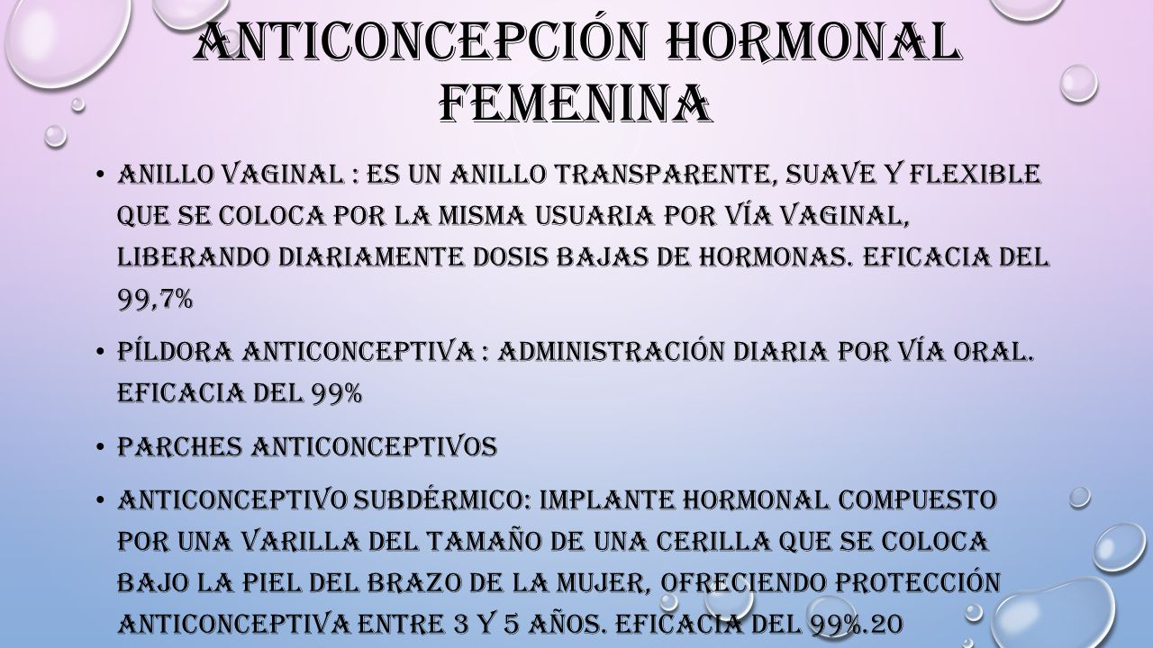 Anticoncepción hormonal femenina
