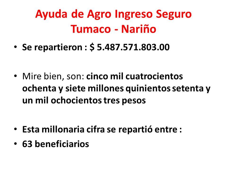 Ayuda de Agro Ingreso Seguro Tumaco - Nariño