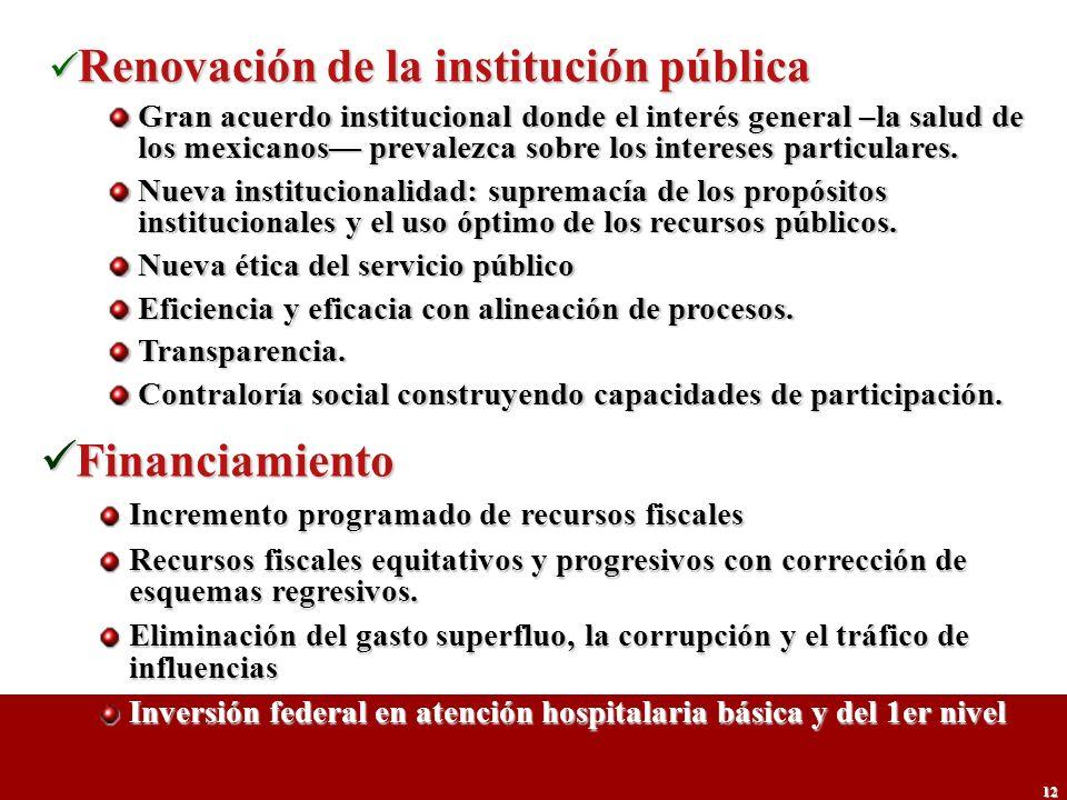 Financiamiento Renovación de la institución pública