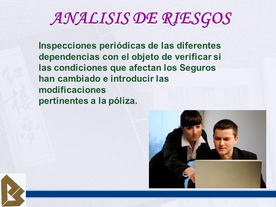 ANALISIS DE RIESGOS Inspecciones periódicas de las diferentes