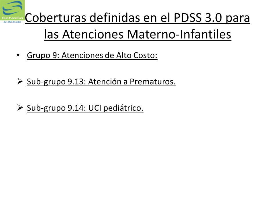 Coberturas definidas en el PDSS 3