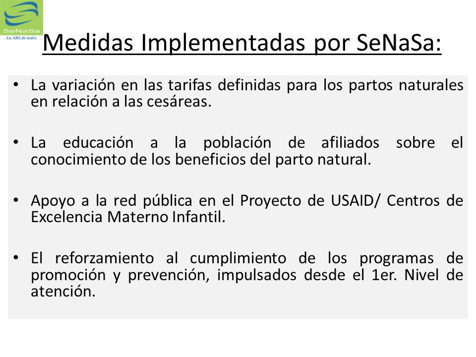 Medidas Implementadas por SeNaSa: