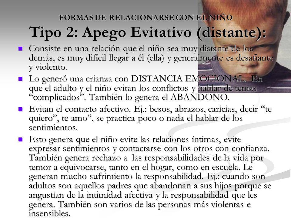 FORMAS DE RELACIONARSE CON EL NIÑO Tipo 2: Apego Evitativo (distante):