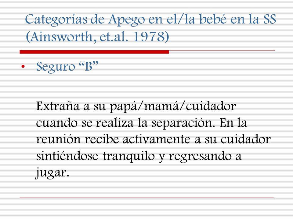Categorías de Apego en el/la bebé en la SS (Ainsworth, et.al. 1978)