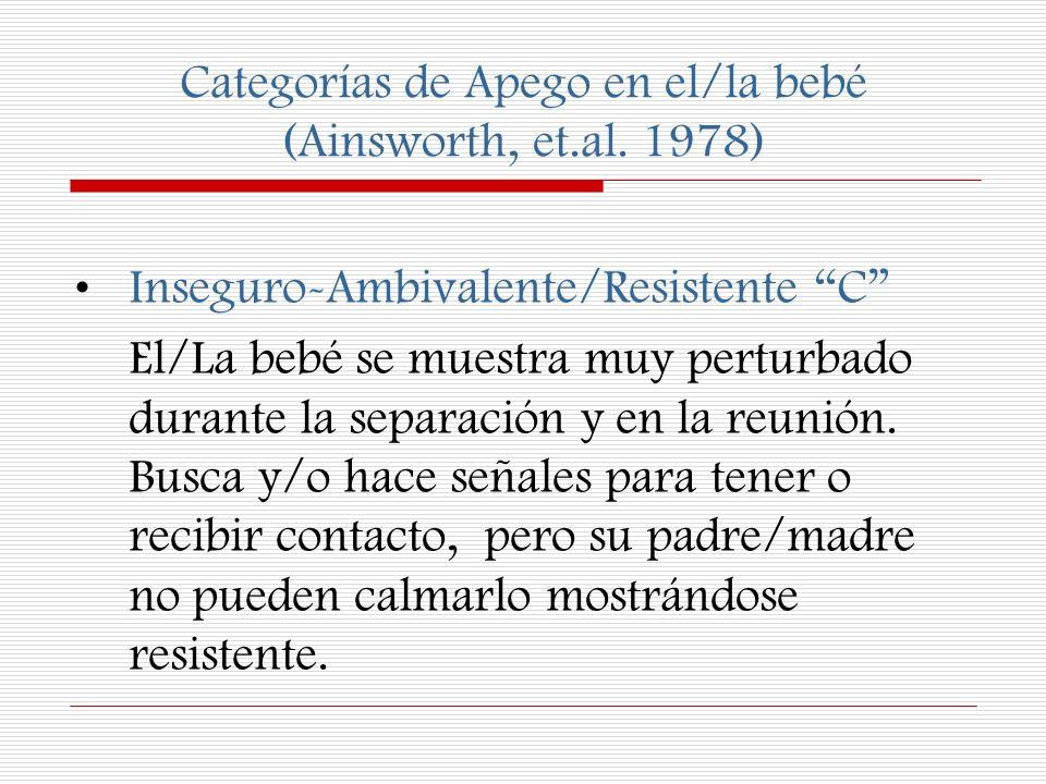 Categorías de Apego en el/la bebé (Ainsworth, et.al. 1978)