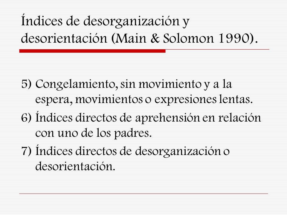 Índices de desorganización y desorientación (Main & Solomon 1990).