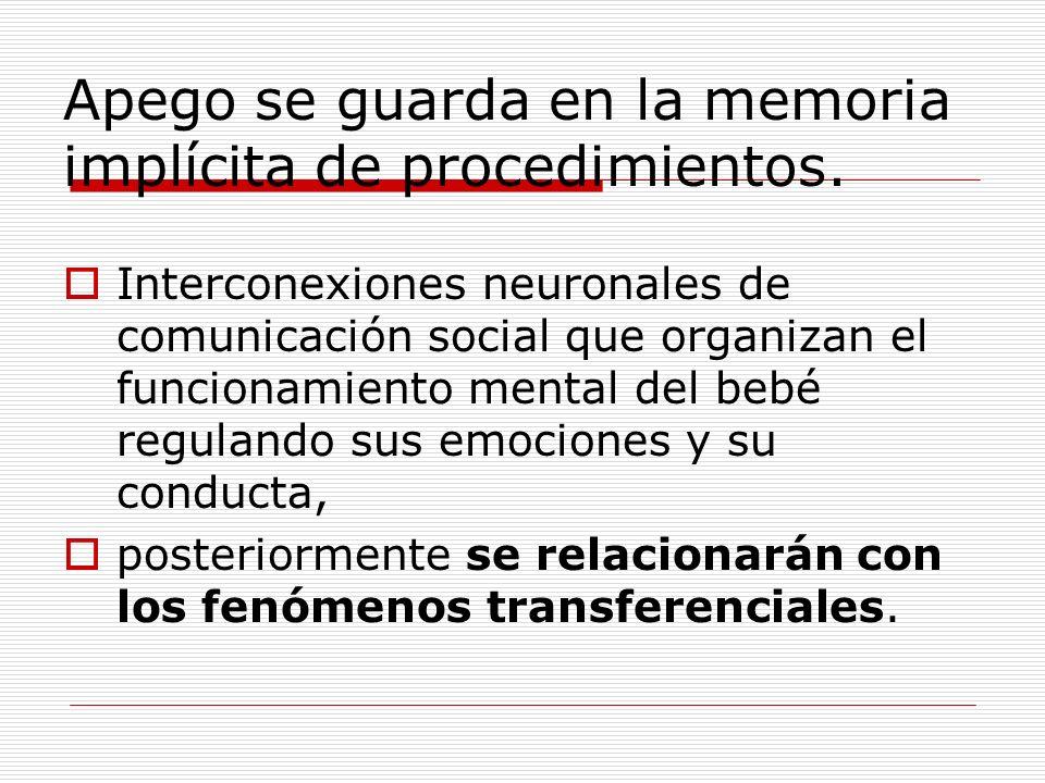 Apego se guarda en la memoria implícita de procedimientos.
