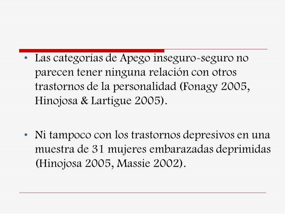 Las categorías de Apego inseguro-seguro no parecen tener ninguna relación con otros trastornos de la personalidad (Fonagy 2005, Hinojosa & Lartigue 2005).