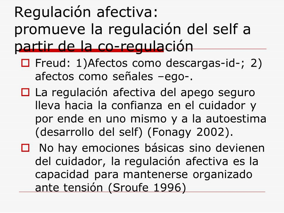Regulación afectiva: promueve la regulación del self a partir de la co-regulación