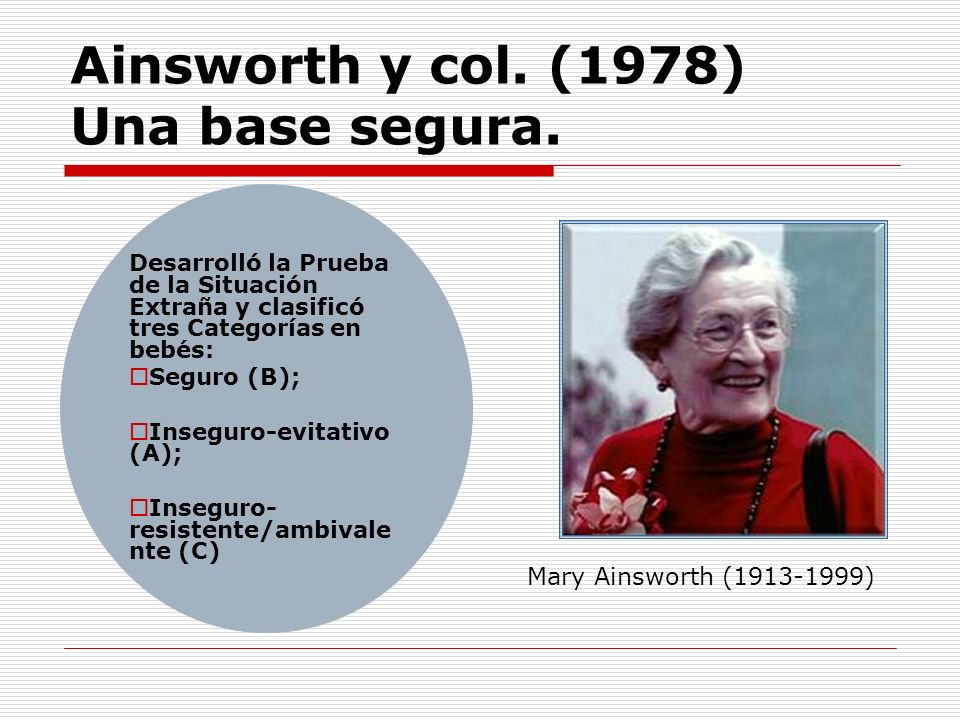 Ainsworth y col. (1978) Una base segura.