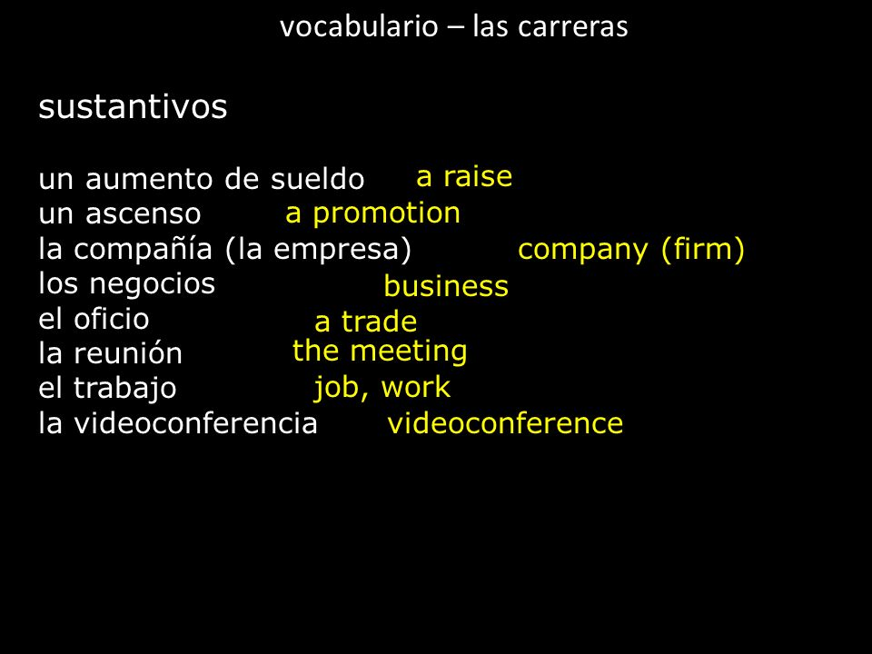 vocabulario – las carreras
