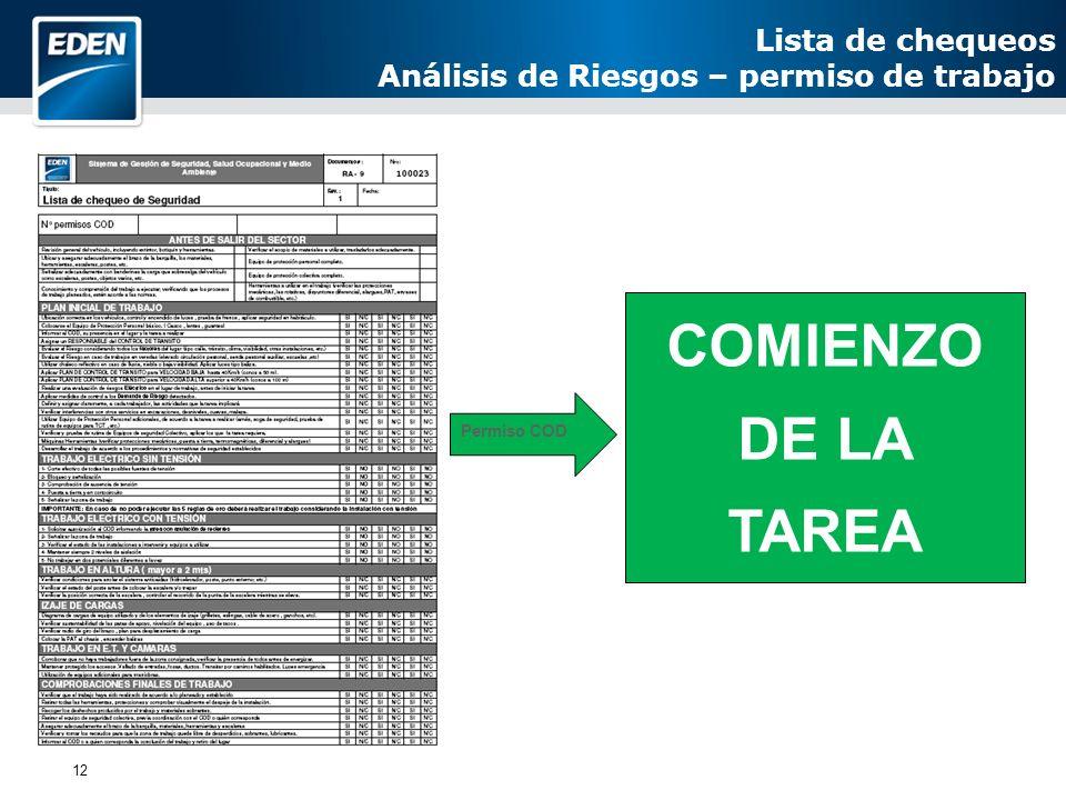 COMIENZO DE LA TAREA Lista de chequeos