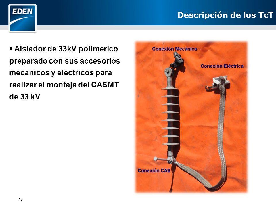 Descripción de los TcT Aislador de 33kV polimerico preparado con sus accesorios mecanicos y electricos para realizar el montaje del CASMT de 33 kV.