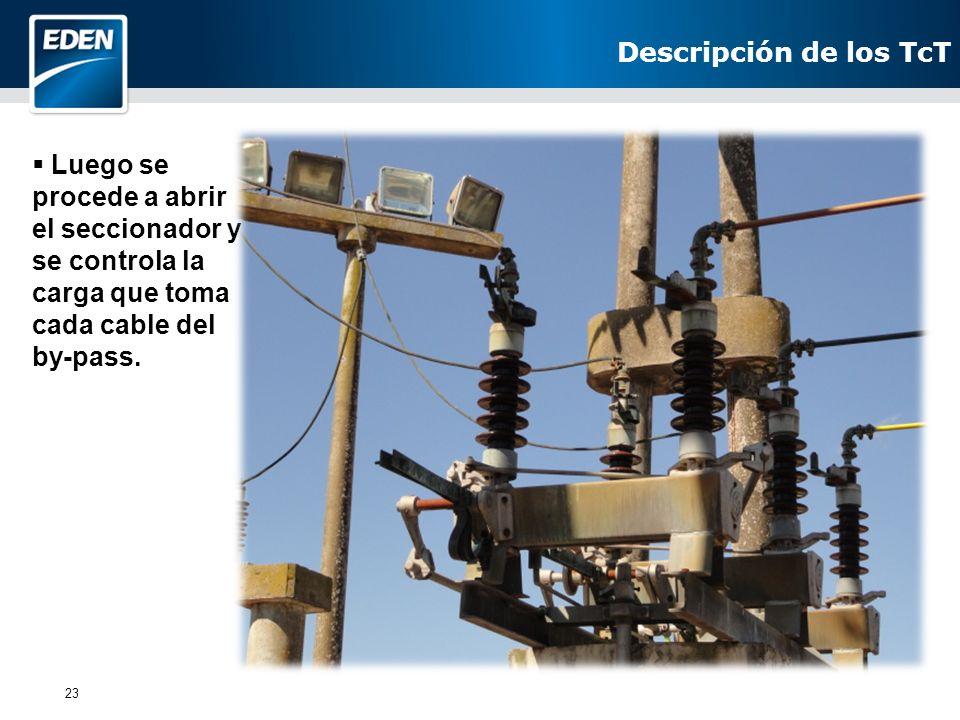 Descripción de los TcT Luego se procede a abrir el seccionador y se controla la carga que toma cada cable del by-pass.