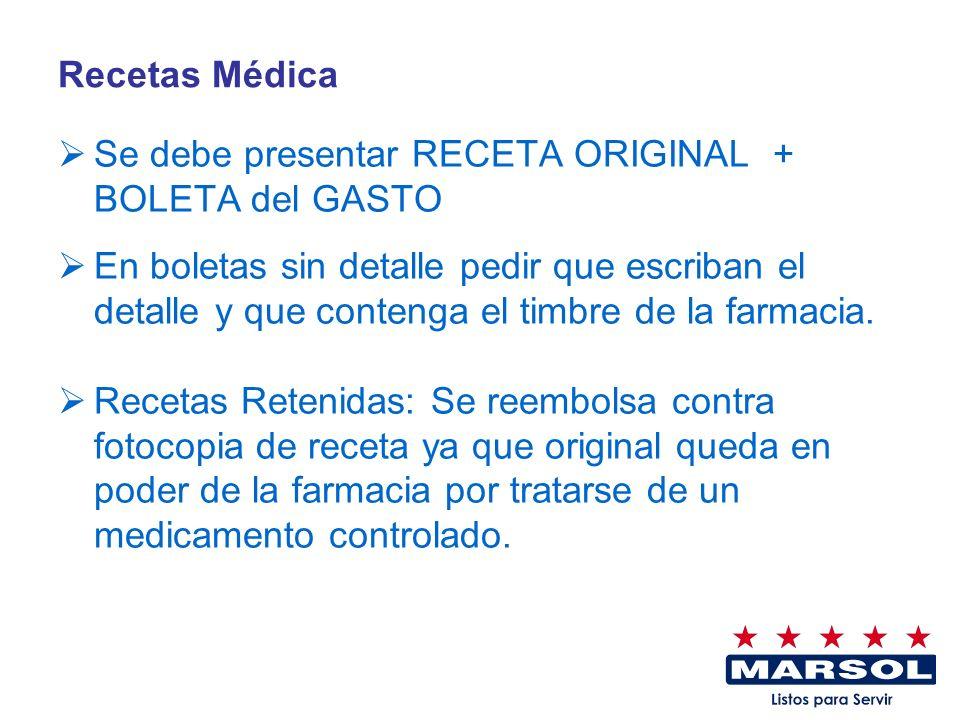 Recetas Médica Se debe presentar RECETA ORIGINAL + BOLETA del GASTO.