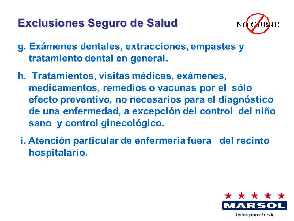 Exclusiones Seguro de Salud