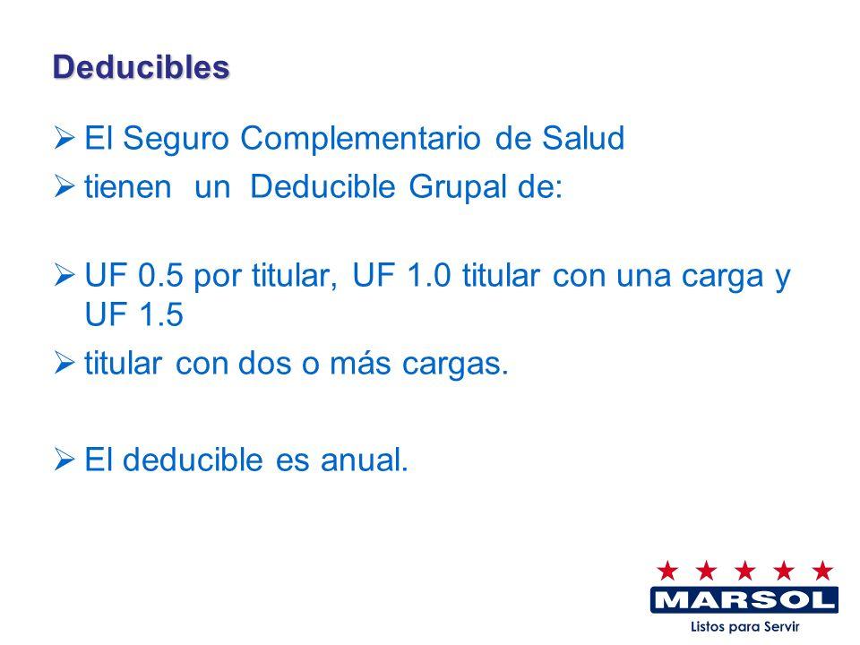 Deducibles El Seguro Complementario de Salud. tienen un Deducible Grupal de: UF 0.5 por titular, UF 1.0 titular con una carga y UF 1.5.