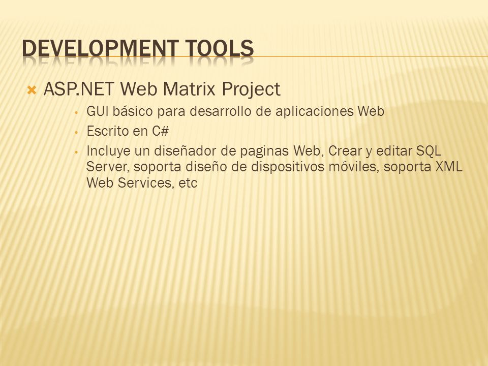 Development Tools ASP.NET Web Matrix Project