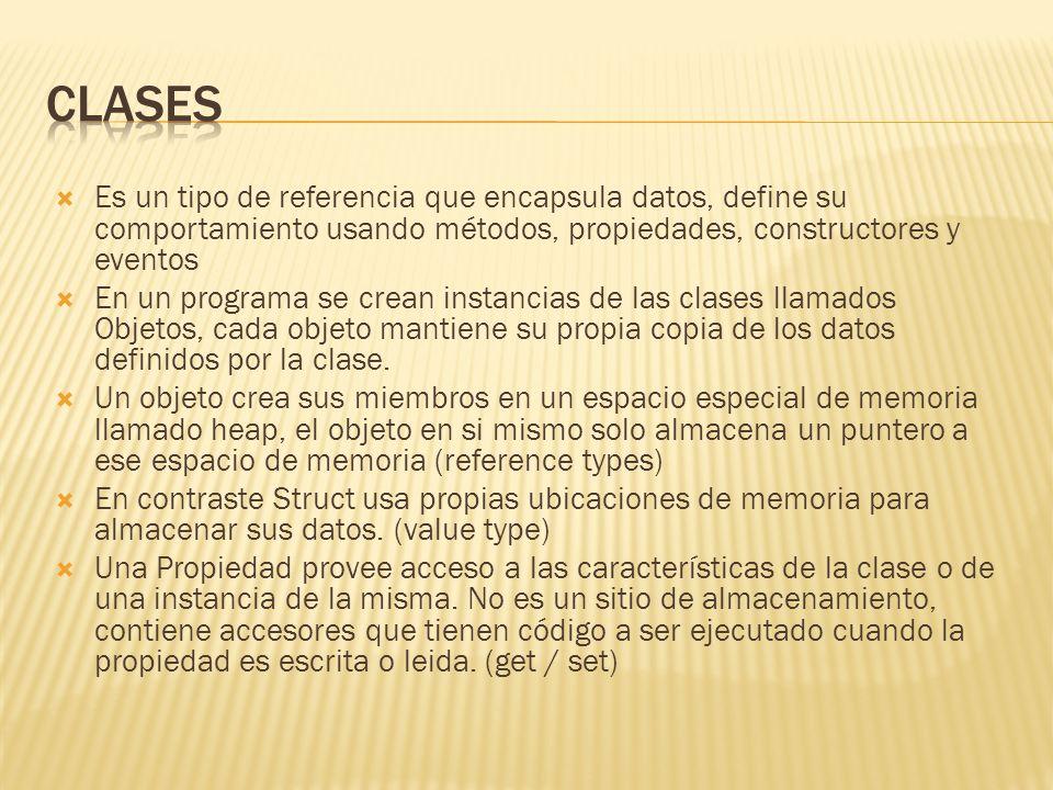 Clases Es un tipo de referencia que encapsula datos, define su comportamiento usando métodos, propiedades, constructores y eventos.