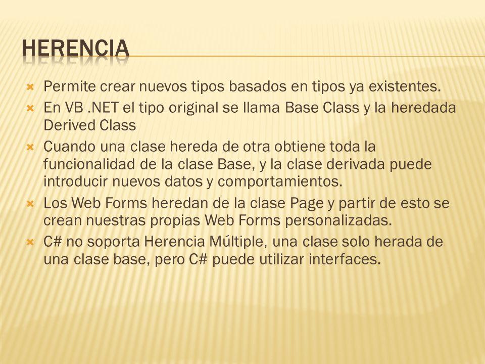 Herencia Permite crear nuevos tipos basados en tipos ya existentes.
