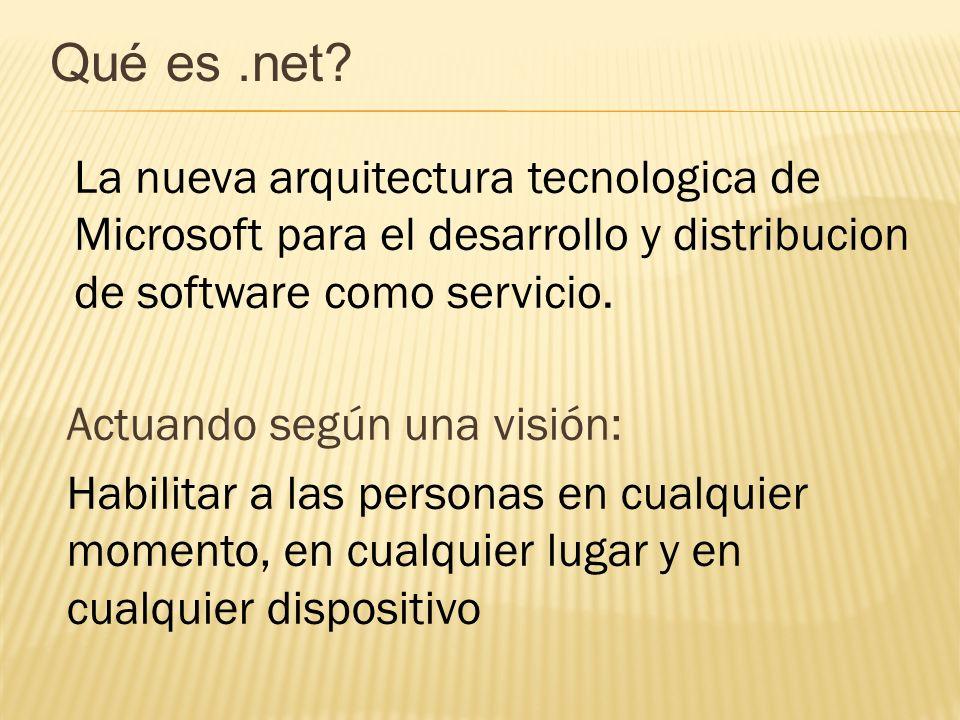Qué es .net La nueva arquitectura tecnologica de Microsoft para el desarrollo y distribucion de software como servicio.
