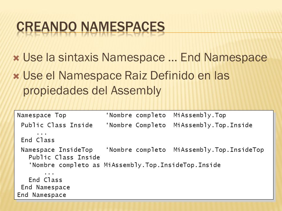 Creando Namespaces Use la sintaxis Namespace … End Namespace