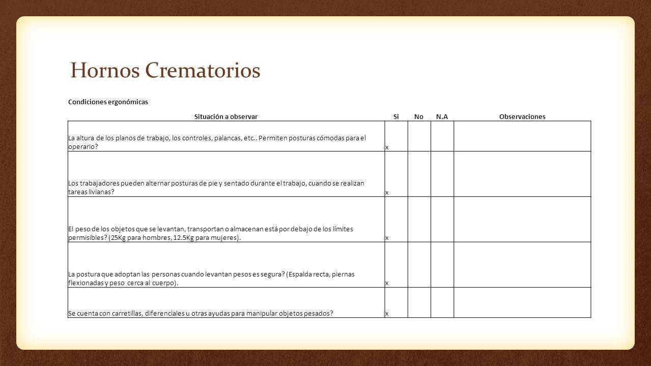 Hornos Crematorios Condiciones ergonómicas Situación a observar Si No