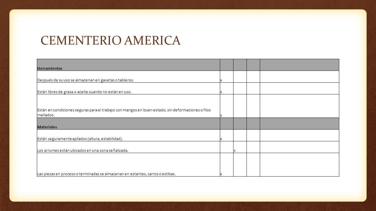 CEMENTERIO AMERICA Herramientas