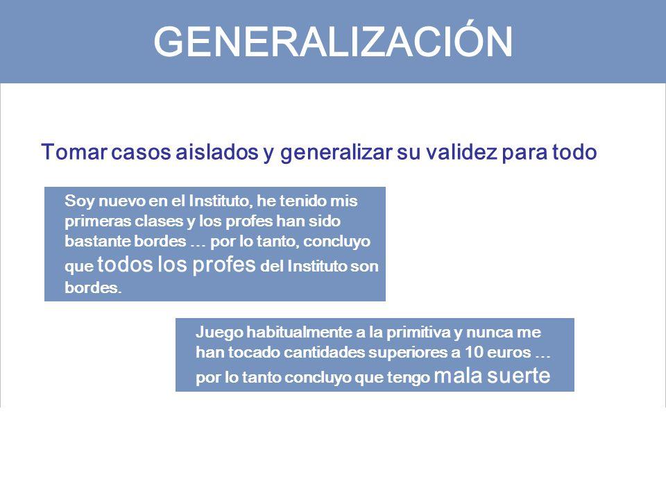 GENERALIZACIÓN Tomar casos aislados y generalizar su validez para todo