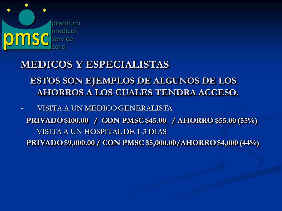 MEDICOS Y ESPECIALISTAS