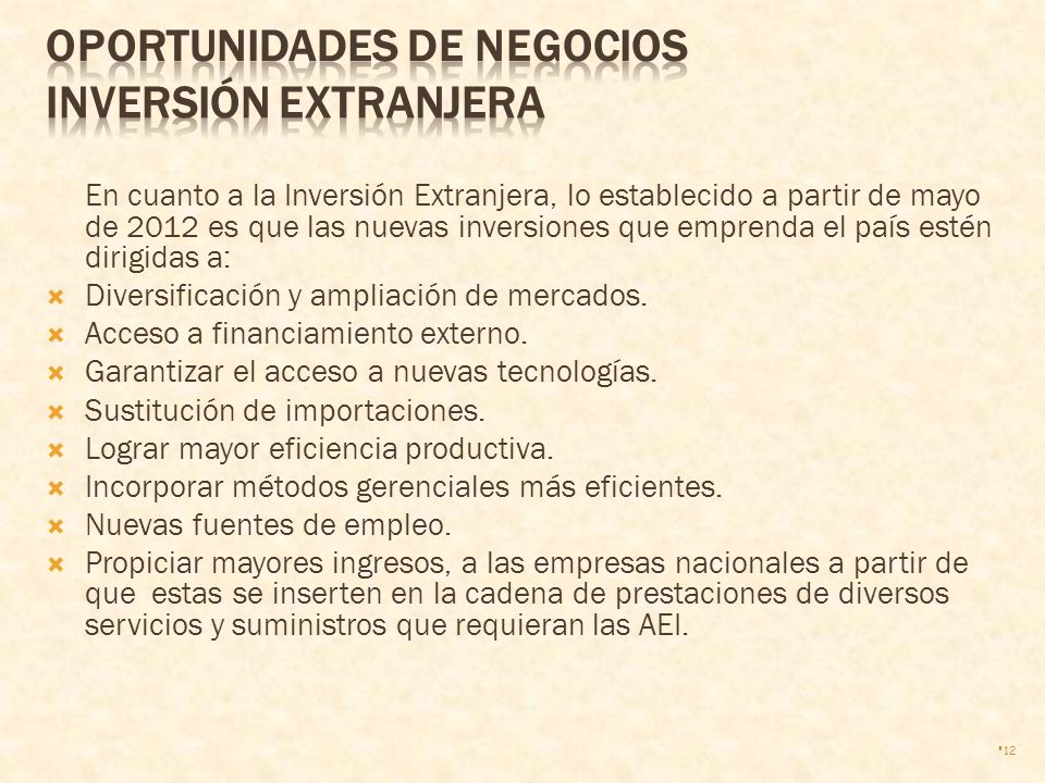 OPORTUNIDADES DE NEGOCIOS Inversión Extranjera