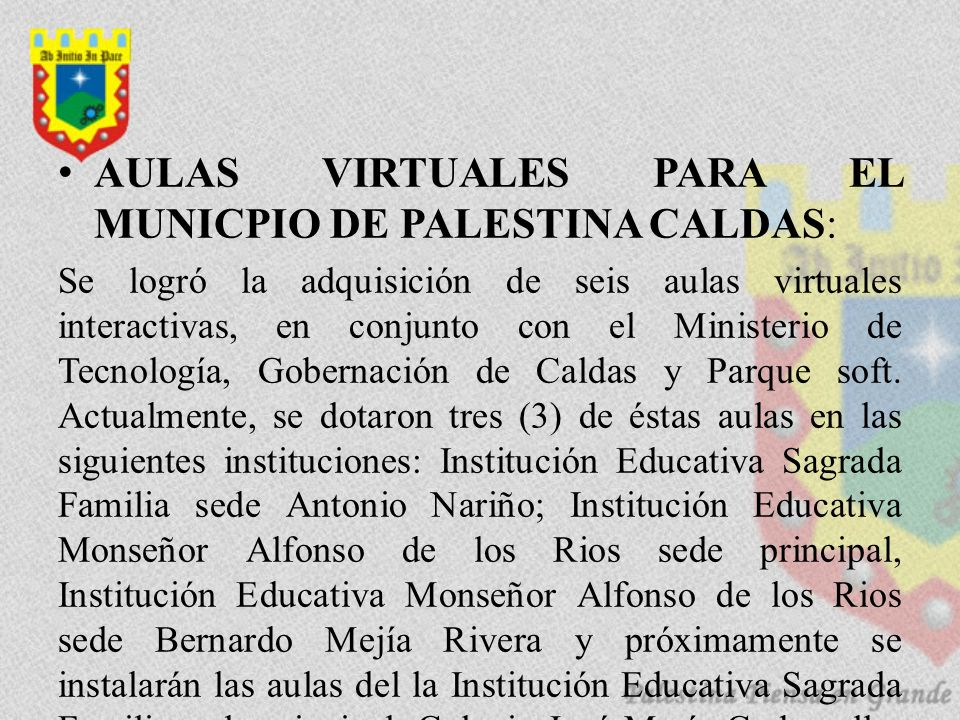 AULAS VIRTUALES PARA EL MUNICPIO DE PALESTINA CALDAS: