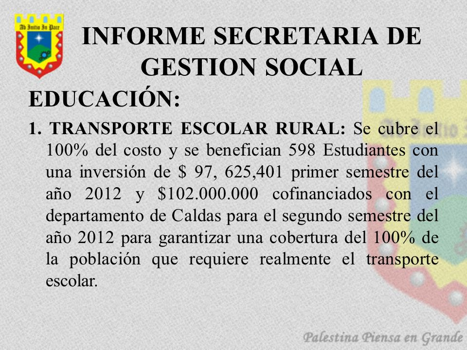 INFORME SECRETARIA DE GESTION SOCIAL