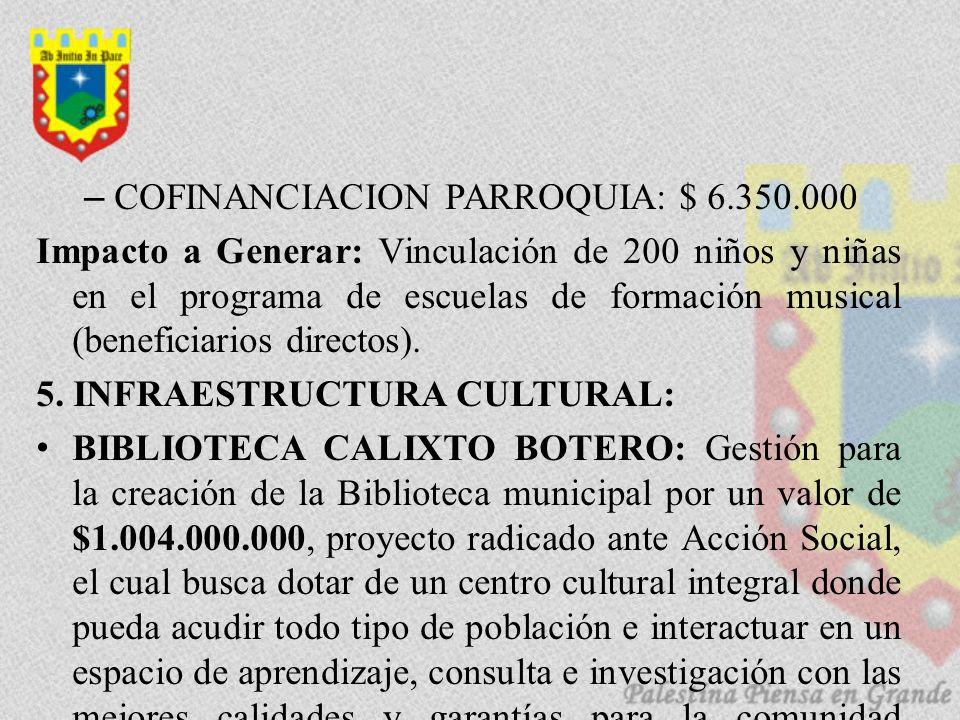 COFINANCIACION PARROQUIA: $ 6.350.000
