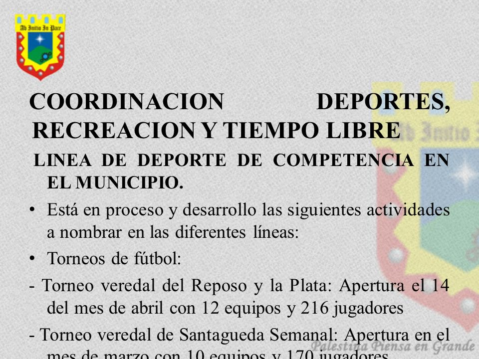 COORDINACION DEPORTES, RECREACION Y TIEMPO LIBRE