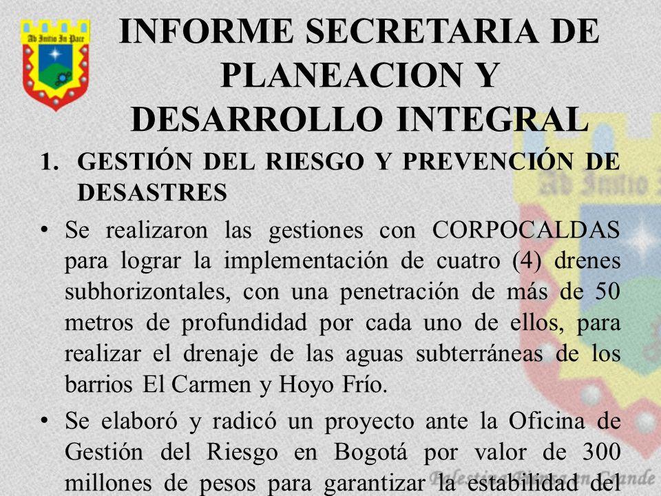 INFORME SECRETARIA DE PLANEACION Y DESARROLLO INTEGRAL