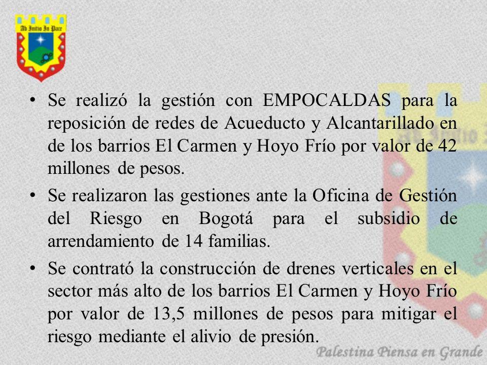 Se realizó la gestión con EMPOCALDAS para la reposición de redes de Acueducto y Alcantarillado en de los barrios El Carmen y Hoyo Frío por valor de 42 millones de pesos.