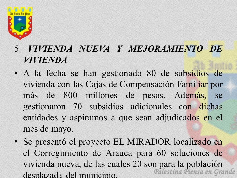 5. VIVIENDA NUEVA Y MEJORAMIENTO DE VIVIENDA