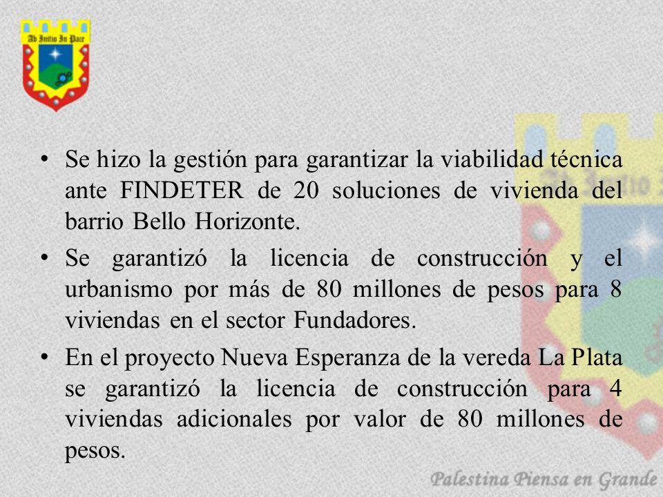 Se hizo la gestión para garantizar la viabilidad técnica ante FINDETER de 20 soluciones de vivienda del barrio Bello Horizonte.
