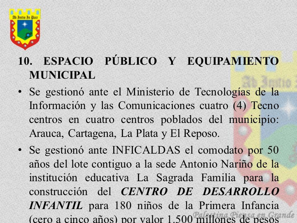 10. ESPACIO PÚBLICO Y EQUIPAMIENTO MUNICIPAL
