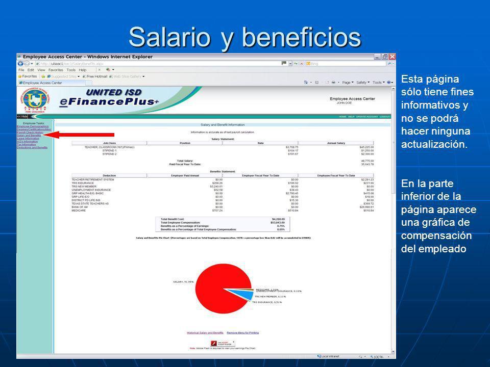 Salario y beneficios Esta página sólo tiene fines informativos y no se podrá hacer ninguna actualización.